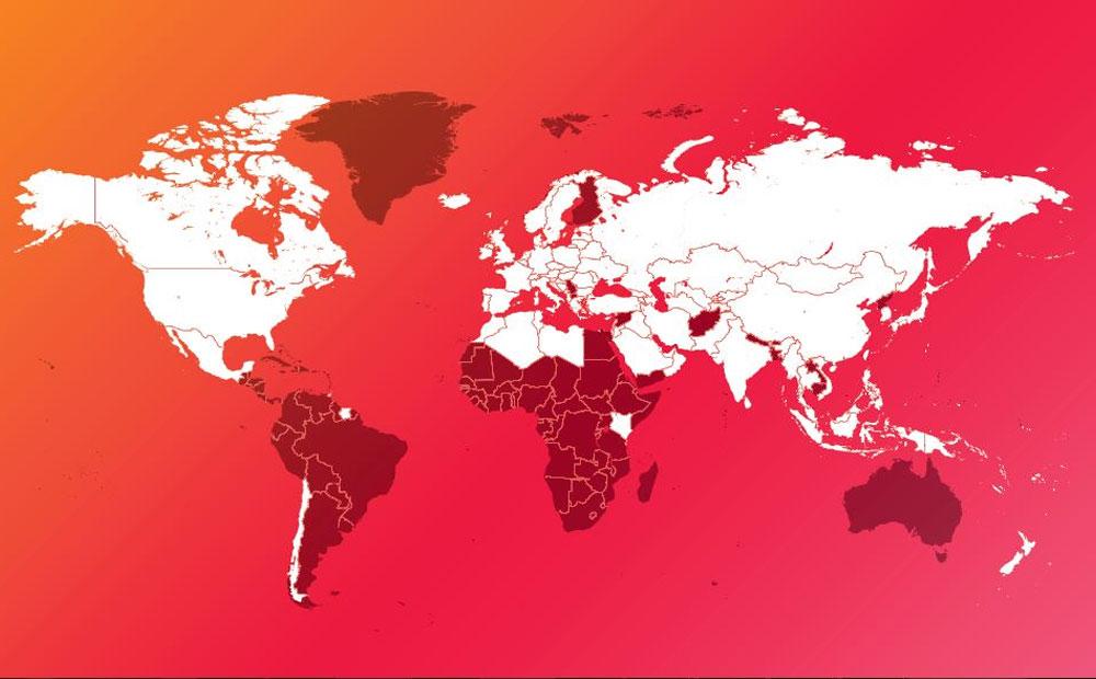 در این نقشه، کشورهایی که با رنگ سفید مشخص شده اند، محصولات بیفار را عرضه می کنند.