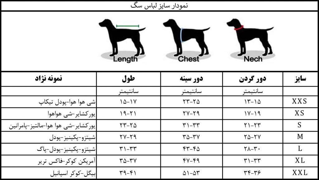 سایز بندی لباس سگ